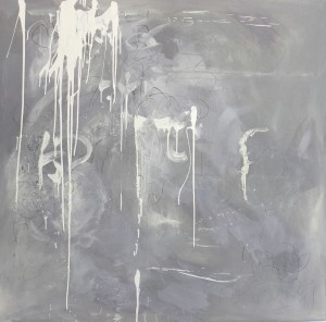 """Reconciliation at 4 am"" 2015. Pencil, grit, oil, gloss and emulsion paint on canvas. 147 cm x 147 cm."