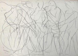 """Woman with hoop"" 2014. Pencil on paper. 297 cm x 420 cm."