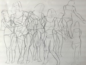 """Woman with mirror"" 2014. Pencil on paper. 420 cm x 594 cm"